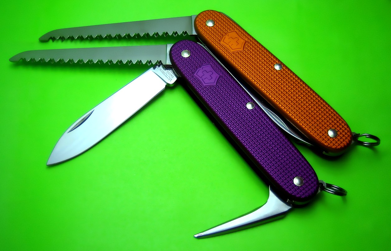 The 93mm Bushcrafter is a Victorinox 'special run' model for dealer SwissBianco.  It has been produced in various colors.