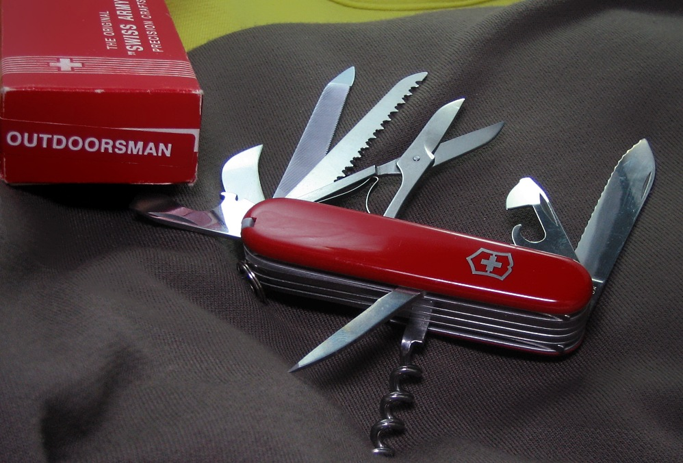 The 1970s 91mm Victorinox Outdoorsman preceded the more common Marlboro Outdoorsman configuration.  The knife may have been only distributed in a limited number of markets.
