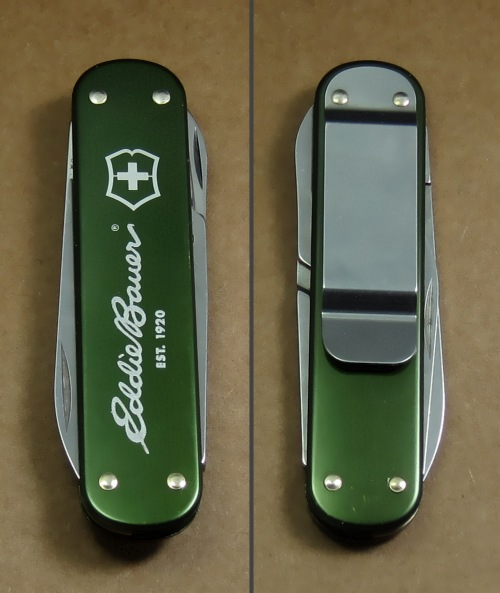 Advertising knife for Eddie Bauer with dark olive green anodizing.