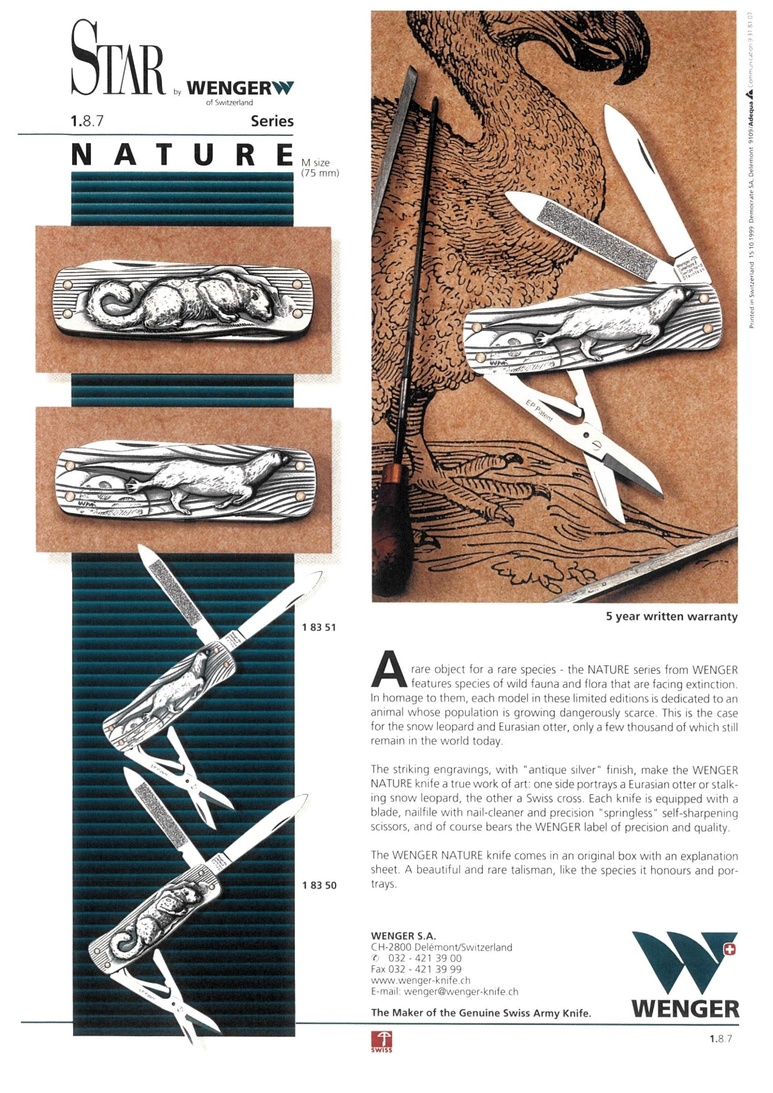 "Nature Series Sales Sheet from WENGER featuring striking engravings with ""antique silver"" finish. 1999