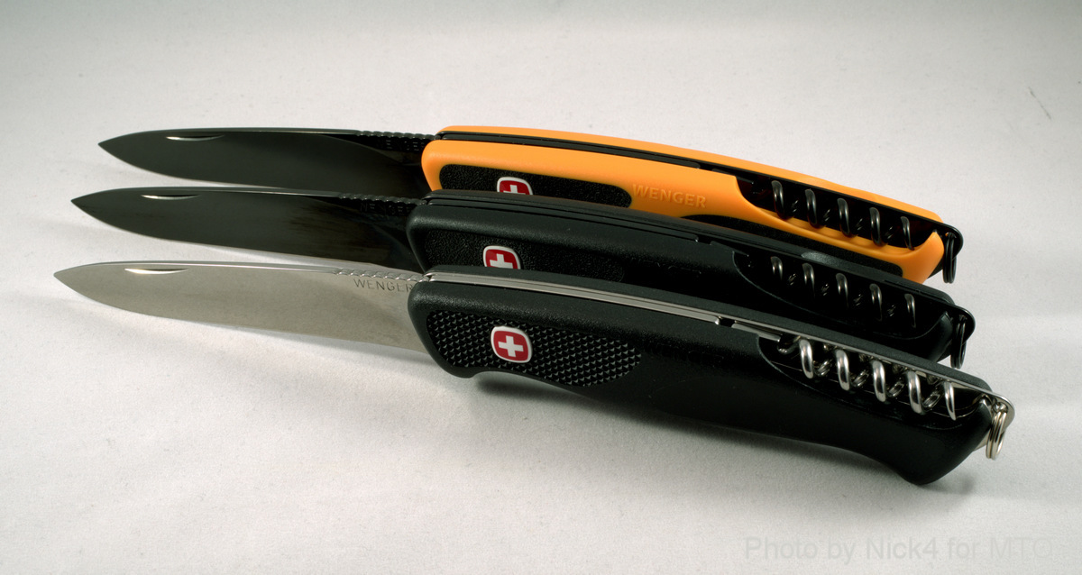 Wenger New Ranger 52 Variations -  Standard black Nylon scales, Blackout and Orange Blackout
